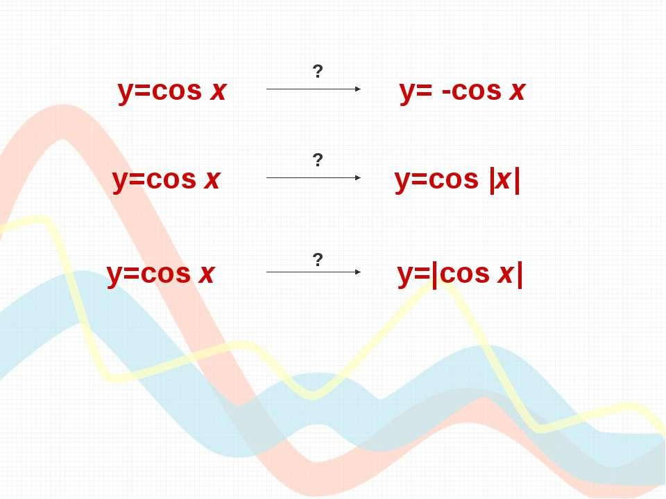 y=cos х y=cos |x| y=cos х y= -cos x y=cos х y=|cos x| ? ? ?