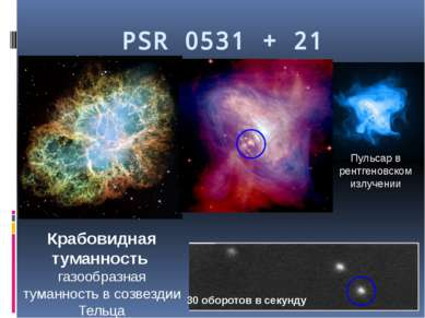 PSR 0531 + 21 Крабовидная туманность газообразная туманность в созвездии Тель...