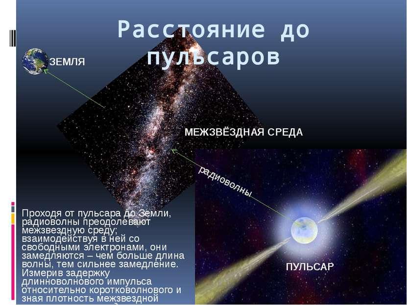 Расстояние до пульсаров Проходя от пульсара до Земли, радиоволны преодолевают...