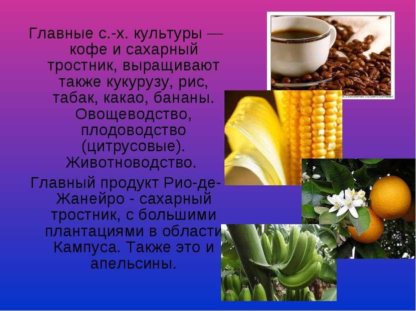 Главные с.-х. культуры — кофе и сахарный тростник, выращивают также кукурузу,...