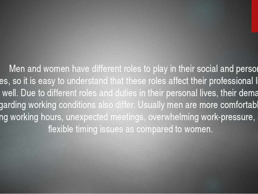 Employment conditions Men and women have different roles to play in their soc...