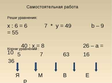 Самостоятельная работа Реши уравнения: x : 6 = 6 7 * y = 49 b – 9 = 55 40 : x...