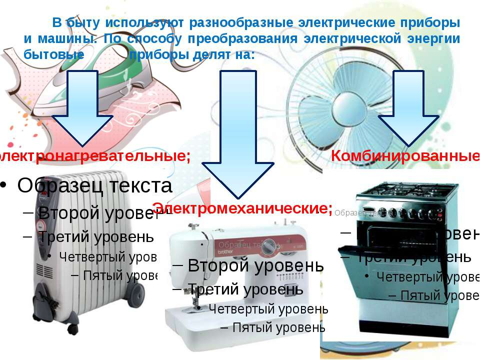 В быту используют разнообразные электрические приборы и машины. По способу пр...