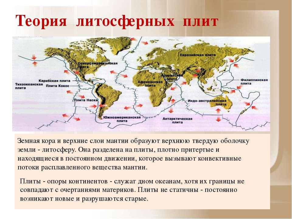 Теория литосферных плит Земная кора и верхние слои мантии образуют верхнюю тв...