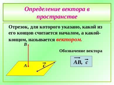 Определение вектора в пространстве Отрезок, для которого указано, какой из ег...