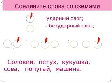 Соедините слова со схемами - ударный слог; - безударный слог; ; ; ; Соловей, ...
