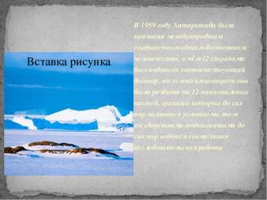 В 1959 году Антарктида была признана международным сообществом общим достояни...