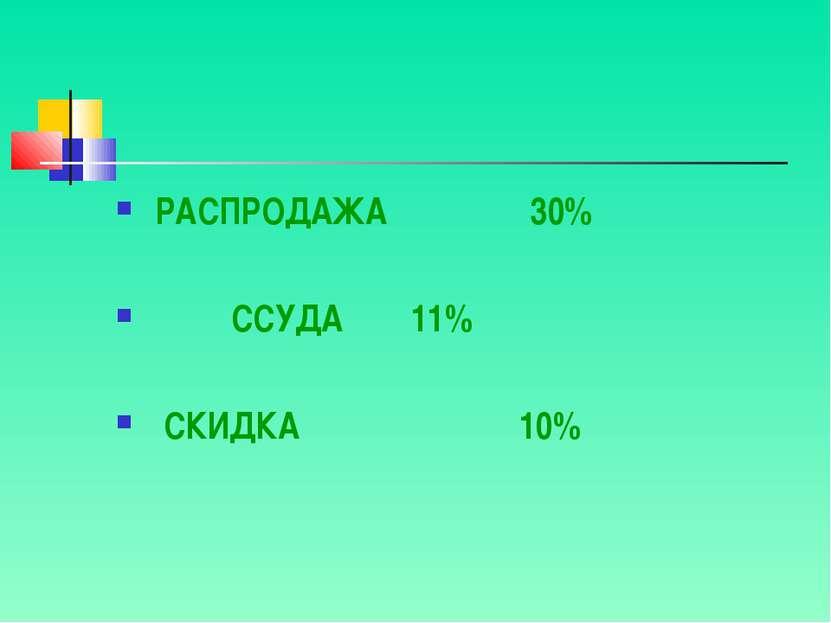 РАСПРОДАЖА 30% ССУДА 11% СКИДКА 10%