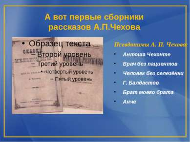 А вот первые сборники рассказов А.П.Чехова Псевдонимы А. П. Чехова: Антоша Че...
