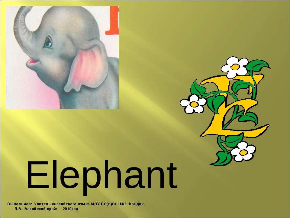 Elephant Выполнила: Учитель английского языка МОУ БС(п)ОШ №3 Кондик Л.А., Алт...