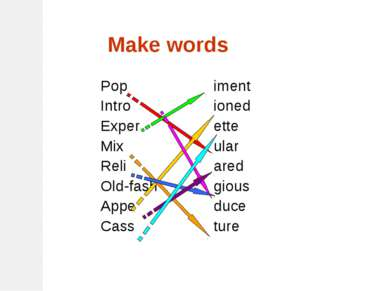 Make words Pop Intro Exper Mix Reli Old-fash Appe Cass iment ioned ette ular ...