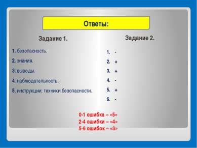 Задание 1. Задание 2. 1. безопасность. 2. знания. 3. выводы. 4. наблюдательно...