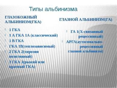 Типы альбинизма ГЛАЗОКОЖНЫЙ АЛЬБИНИЗМ(ГКА) ГЛАЗНОЙ АЛЬБИНИЗМ(ГА) 1 ГКА 1 А ГК...