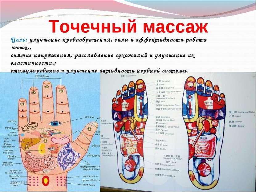 Точечный массаж Цель: улучшение кровообращения, силы и эффективности работы м...