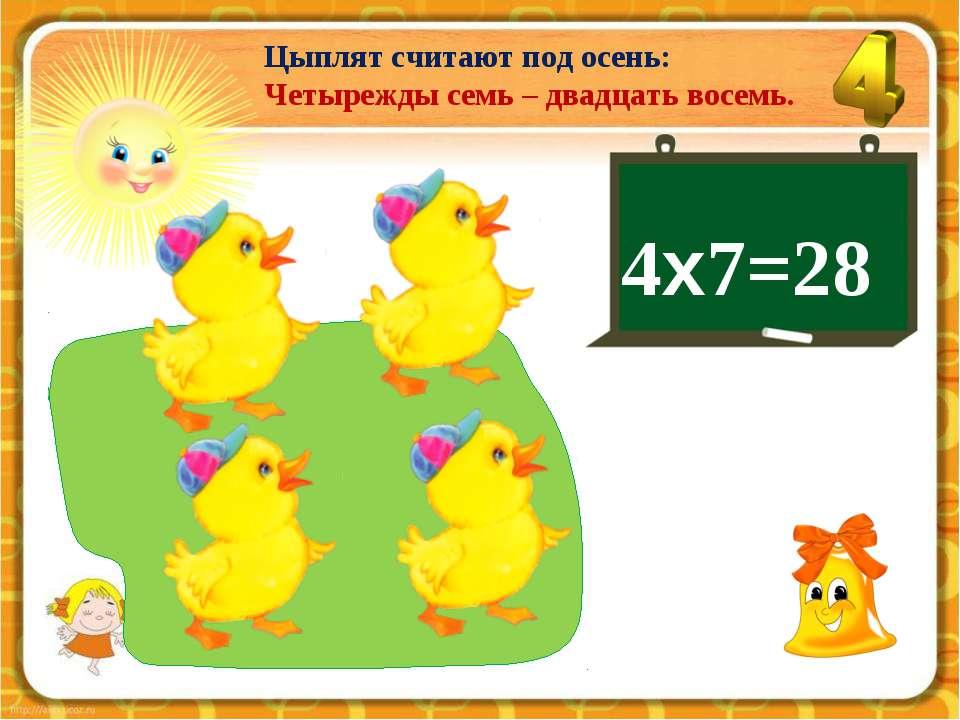 4х7=28 Цыплят считают под осень: Четырежды семь – двадцать восемь.