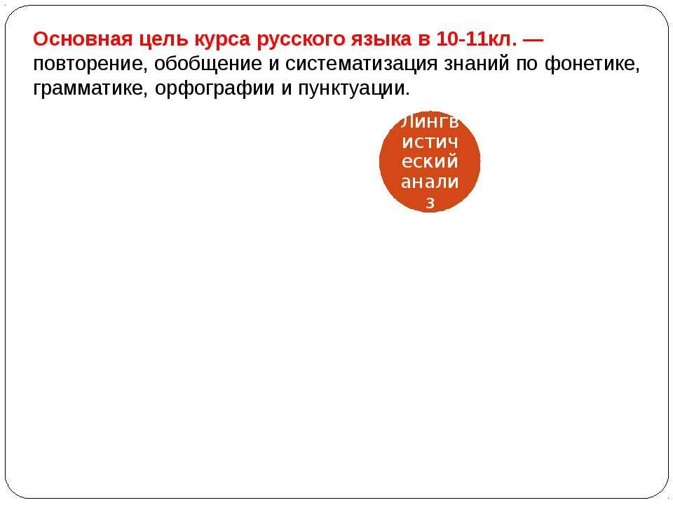 Основная цель курса русского языка в 10-11кл. — повторение, обобщение и систе...