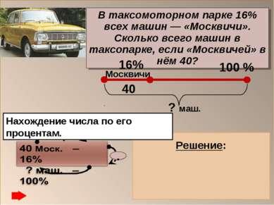 В таксомоторном парке 16% всех машин — «Москвичи». Сколько всего машин в такс...