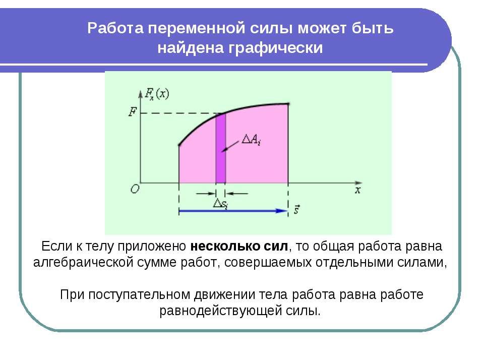 Если к телу приложено несколько сил, то общая работа равна алгебраической сум...