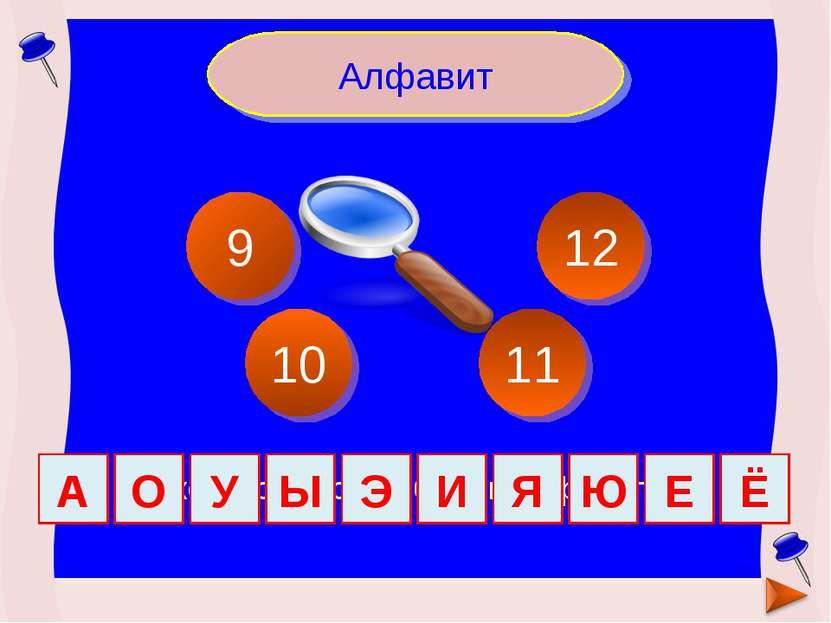 Сколько гласных букв в алфавите? Алфавит 9 12 11 10 А О У Ы Э И Я Ю Е Ё