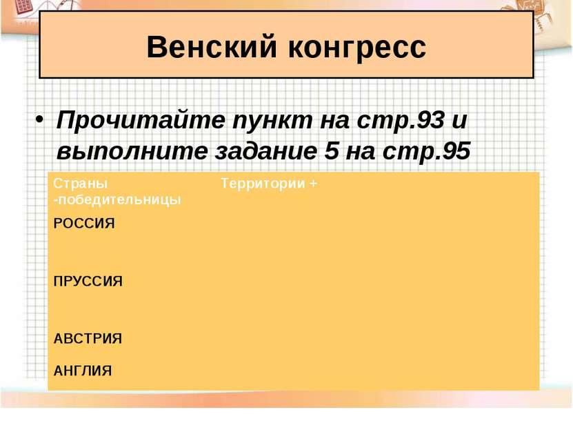 Венский конгресс Прочитайте пункт на стр.93 и выполните задание 5 на стр.95 С...