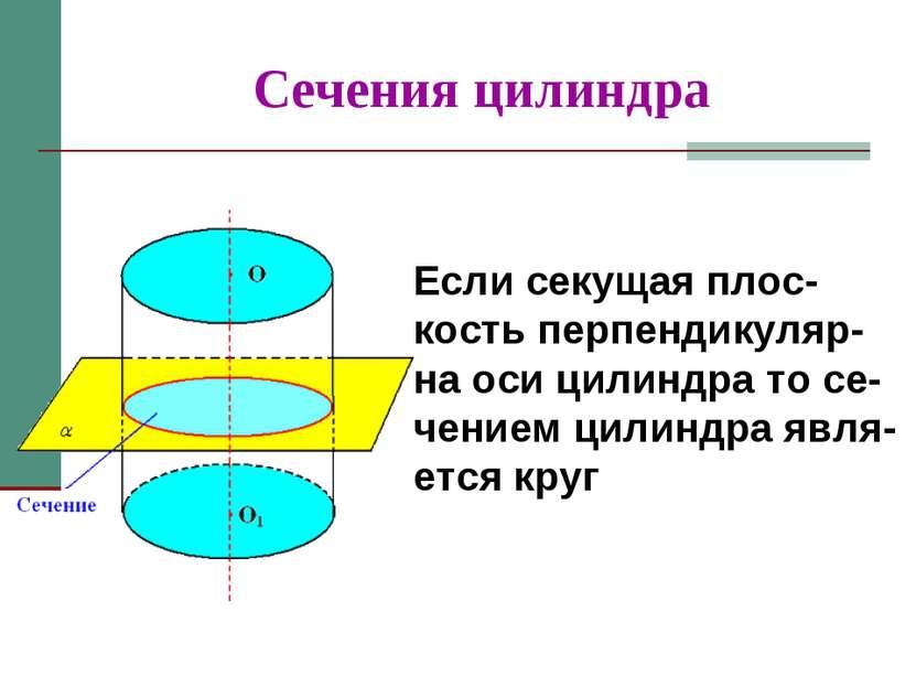 Сечения цилиндра Если секущая плос-кость перпендикуляр-на оси цилиндра то се-...