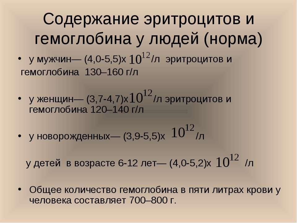 Содержание эритроцитов и гемоглобина у людей (норма) у мужчин— (4,0-5,5)х /л ...