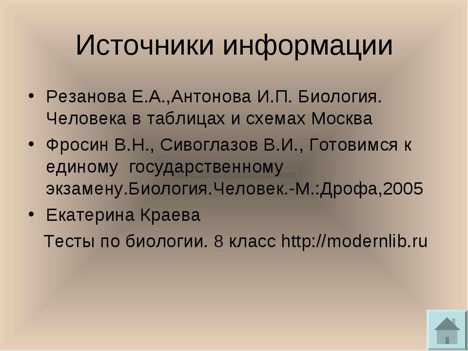 Источники информации Резанова Е.А.,Антонова И.П. Биология. Человека в таблица...
