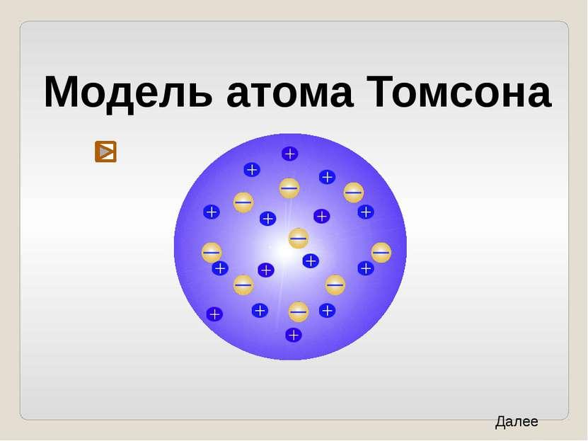 Модель атома Томсона Далее