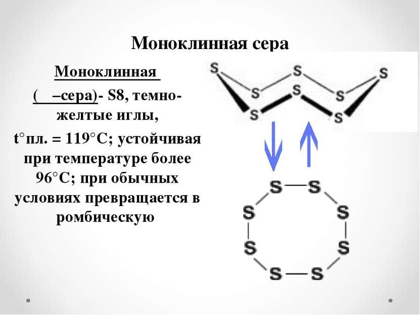 Моноклинная сера Моноклинная (β –сера)- S8, темно-желтые иглы, t°пл. = 119°C;...