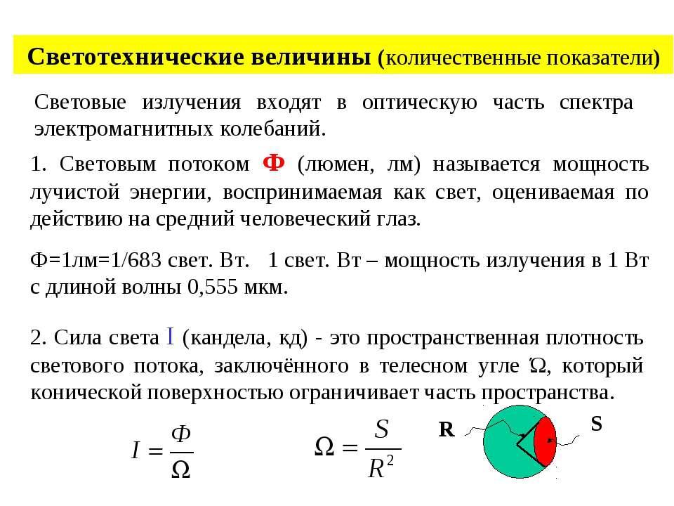 Светотехнические величины (количественные показатели) Световые излучения вход...