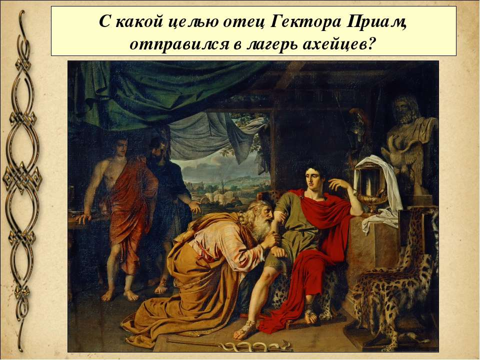 С какой целью отец Гектора Приам, отправился в лагерь ахейцев?