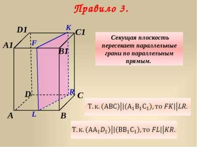 D A C A1 D1 B C1 B1 K F Правило 3. Секущая плоскость пересекает параллельные ...