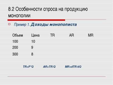 8.2 Особенности спроса на продукцию монополии Пример 1. Доходы монополиста TR...