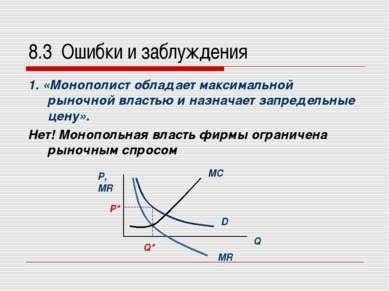 8.3 Ошибки и заблуждения 1. «Монополист обладает максимальной рыночной власть...