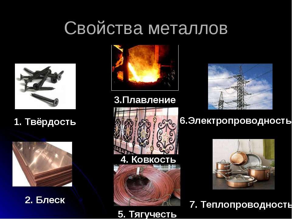Свойства металлов 1. Твёрдость 2. Блеск 3.Плавление 4. Ковкость 5. Тягучесть ...