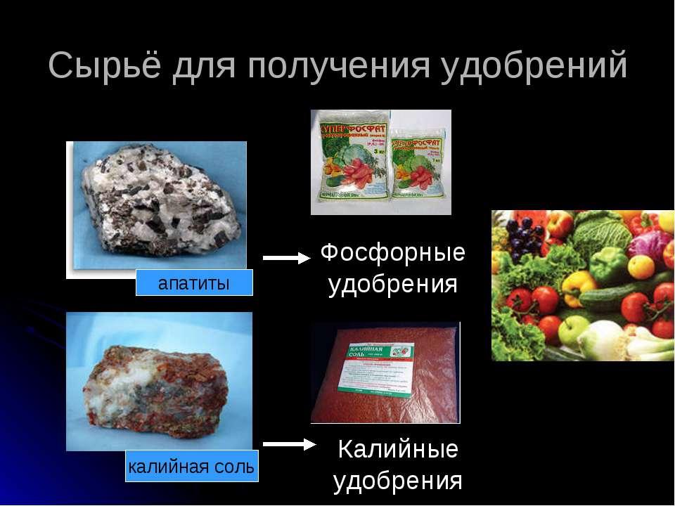 Сырьё для получения удобрений апатиты калийная соль Фосфорные удобрения Калий...