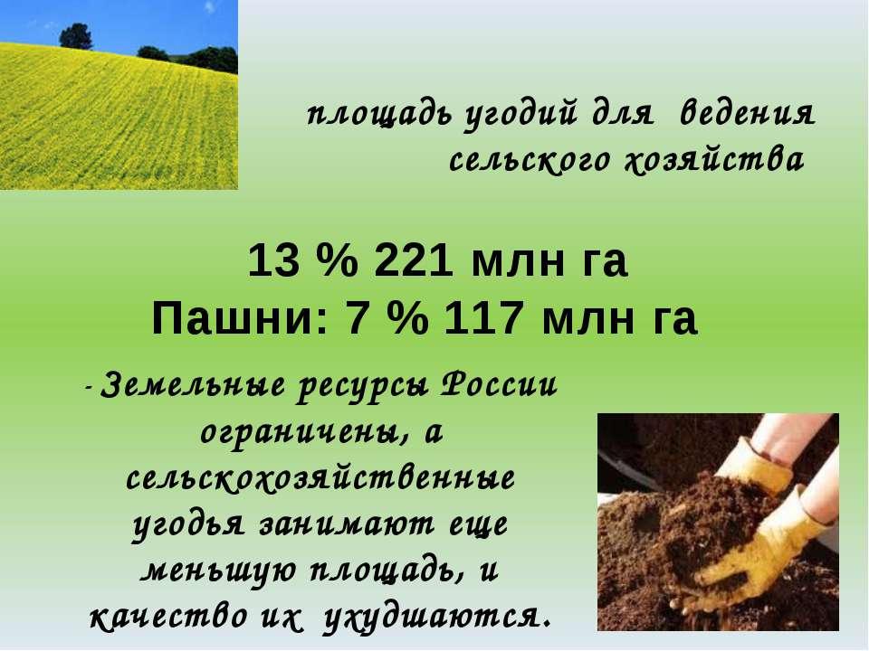 площадь угодий для ведения сельского хозяйства 13 % 221 млн га Пашни: 7 % 117...