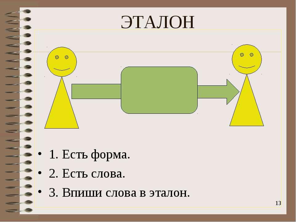 ЭТАЛОН 1. Есть форма. 2. Есть слова. 3. Впиши слова в эталон. *