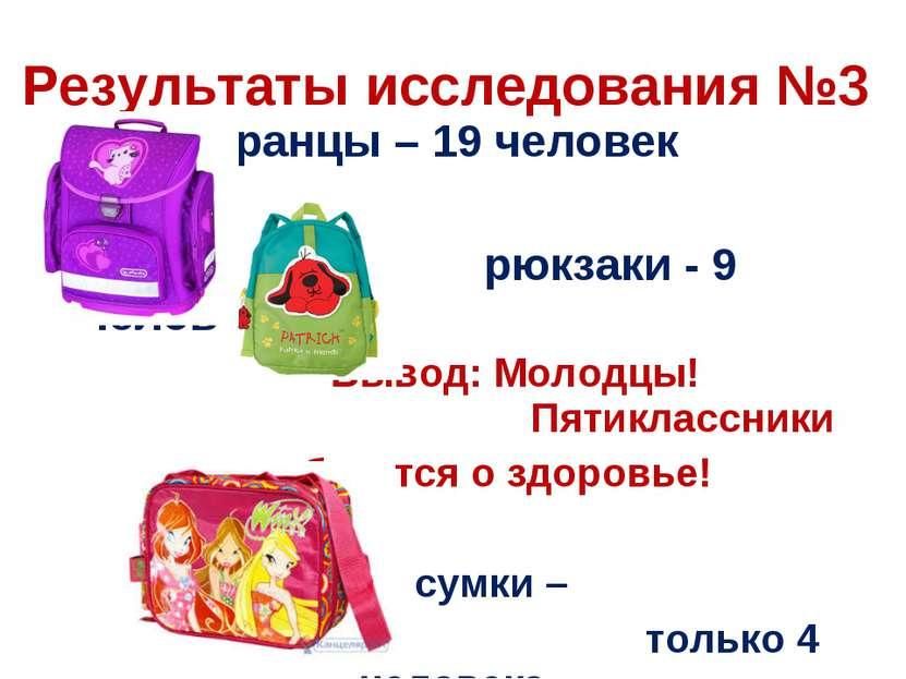 ранцы – 19 человек рюкзаки - 9 человек Вывод: Молодцы! Пятиклассники заботятс...