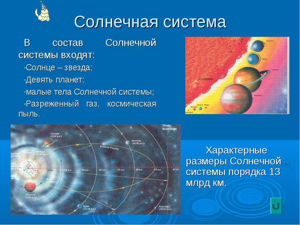 Солнечная система В состав Солнечной системы входят: Солнце – звезда; Девять ...