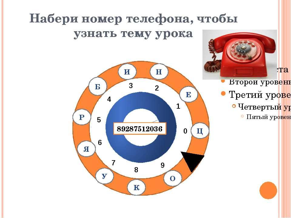 Набери номер телефона, чтобы узнать тему урока 0 1 2 3 4 5 6 7 8 9 8928751203...