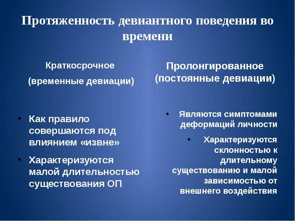 Протяженность девиантного поведения во времени Краткосрочное (временные девиа...