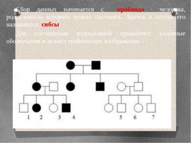 Сбор данных начинается с пробанда - человека, родословную которого нужно сост...