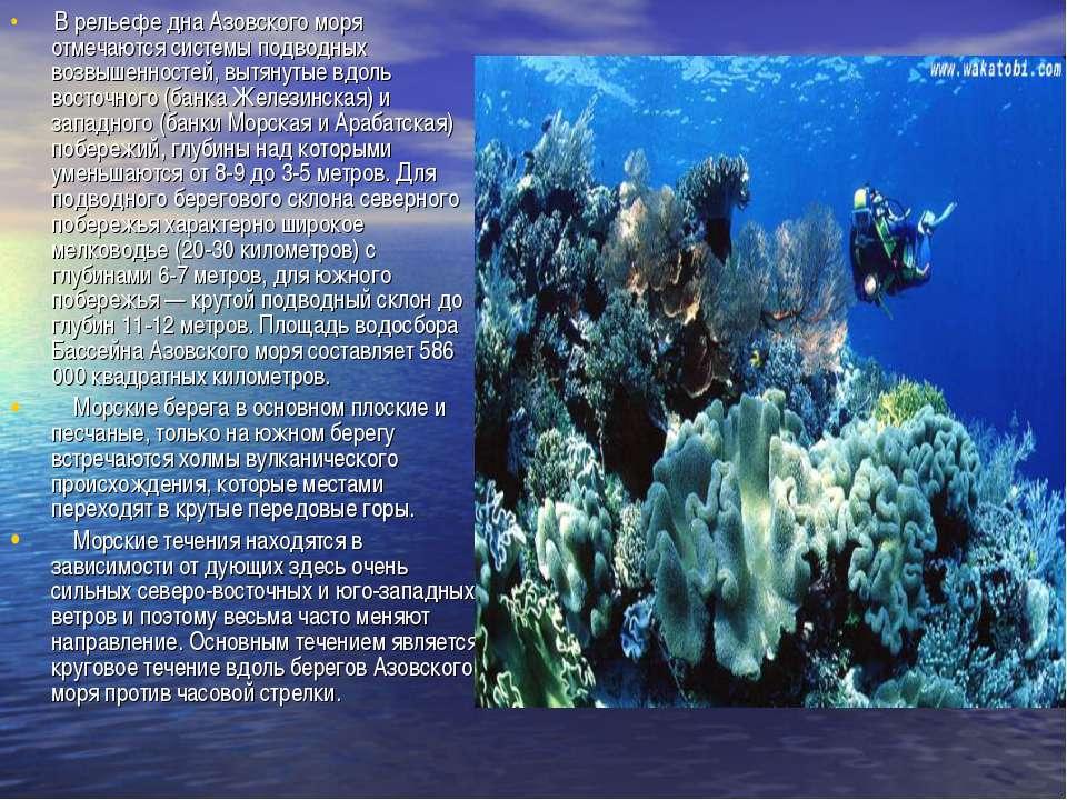 В рельефе дна Азовского моря отмечаются системы подводных возвышенностей, выт...