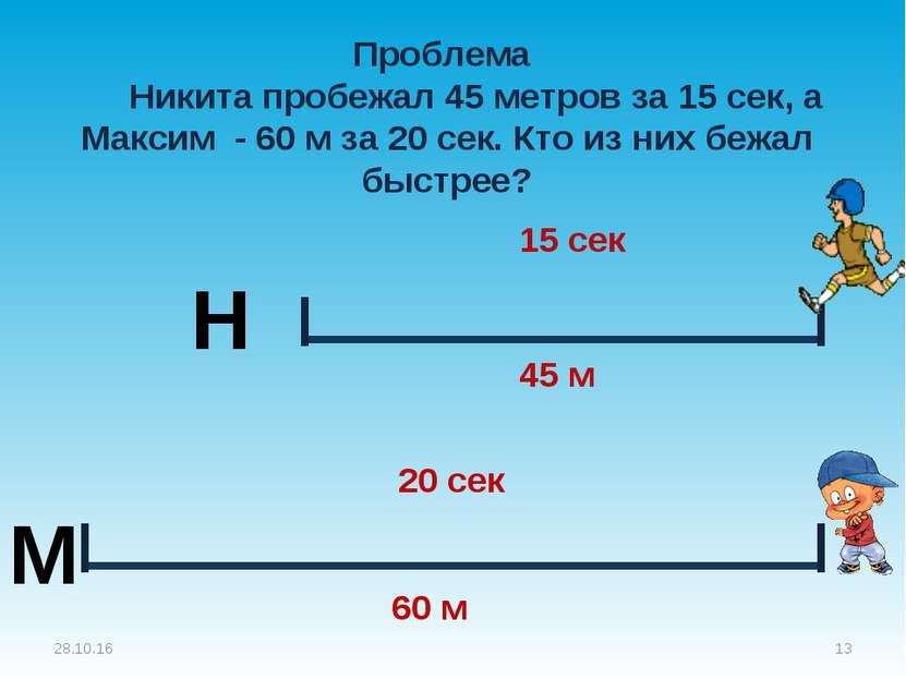 Проблема Никита пробежал 45 метров за 15 сек, а Максим - 60 м за 20 сек. Кто ...