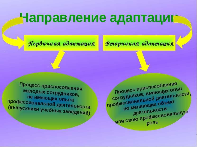 Направление адаптации Первичная адаптация Процесс приспособления сотрудников,...