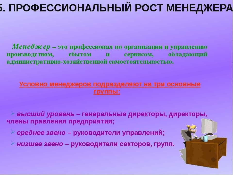 Менеджер – это профессионал по организации и управлению производством, сбытом...