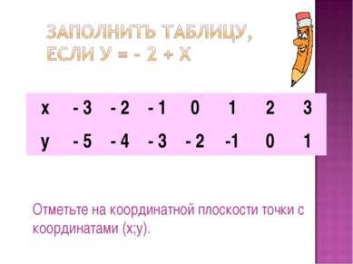 Отметьте на координатной плоскости точки с координатами (х;у). х - 3 - 2 - 1 ...