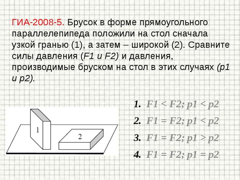 ГИА-2008-5. Брусок в форме прямоугольного параллелепипеда положили на стол сн...