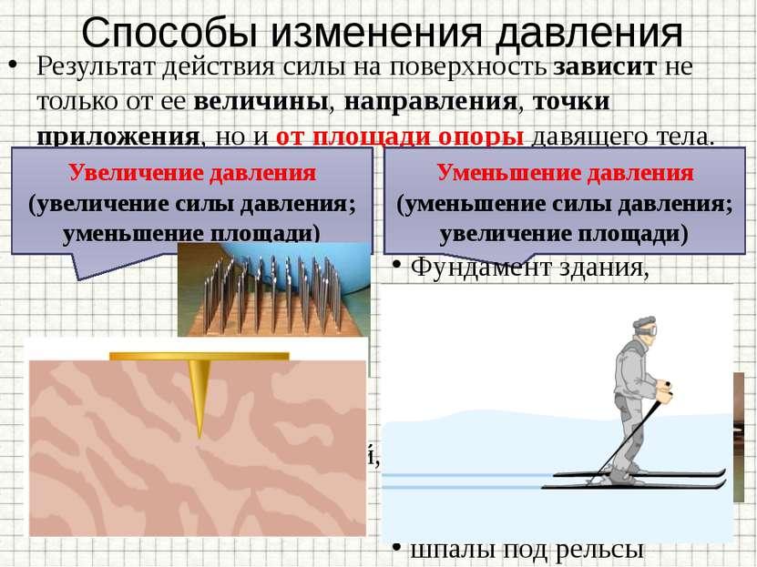 Способы изменения давления Результат действия силы на поверхность зависит не ...